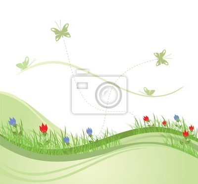 Grüne Frühling Feld Vektor-Illustration