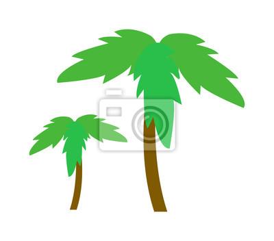 Grüne kokosnuss-palme-symbol isoliert auf weißem hintergrund ...