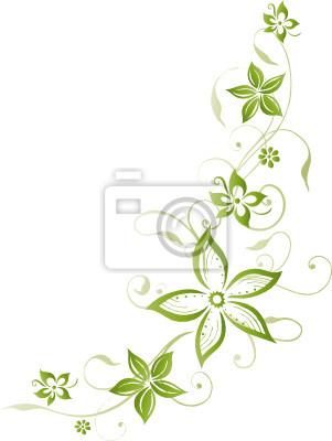 gr ne ranke mit blumen floral fototapete fototapeten decodieren cirrus herbst. Black Bedroom Furniture Sets. Home Design Ideas