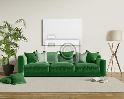 Grune Samt Sofa In Einem Modernen Wohnzimmer Fototapete