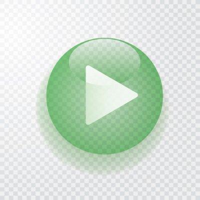Fototapete Grüne transparente Spieltaste mit Schatten, Symbol