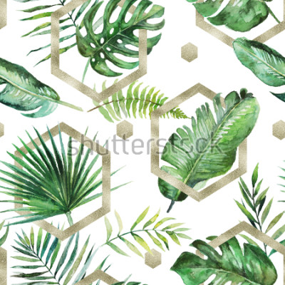 Fototapete Grüne tropische Palme u. Farn verlässt mit Goldgeometrischen Formen auf weißem Hintergrund. Aquarell handgemaltes nahtloses Muster. Tropische Abbildung. Dschungellaub