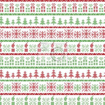 Grüne und rote weihnachts nordic-muster in einschließlich xmas ...
