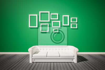 gr ne wand und dunklen holzfu boden mit wei em sofa und bilderrahmen fototapete fototapeten. Black Bedroom Furniture Sets. Home Design Ideas