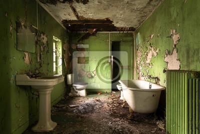 Grünes badezimmer im verfall. fototapete • fototapeten privies ...