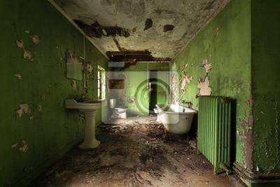 Fototapete: Grünes badezimmer mit schällack.