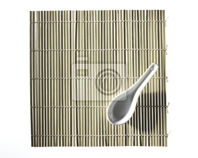 Grunes Bambus Tischset Mit Loffel Fototapete Fototapeten