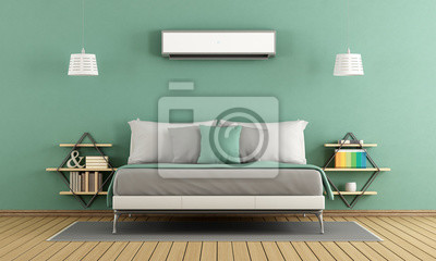 Grünes modernes schlafzimmer fototapete • fototapeten appartment ...