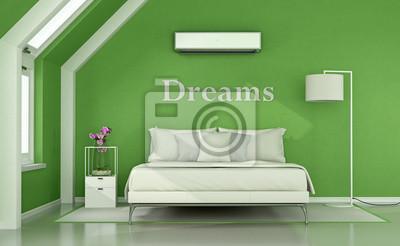 Fototapete: Grünes schlafzimmer im dachgeschoss