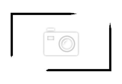 Fototapete Grunge frame isolated on white background. Black rectangle focus border, dirt stroke template. Paint brush effect. Decorative geometric design for page decoration. Vector illustration