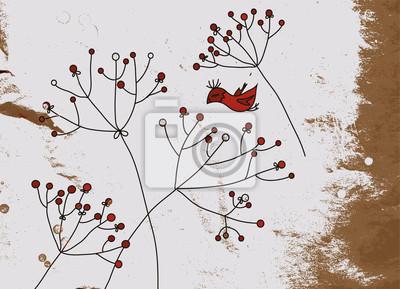Grunge Hintergrund mit Vögeln und Blumen-Design