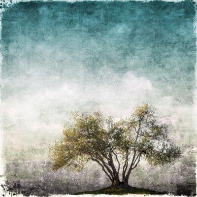 Fototapete Grunge Landschaft mit einzelnen Baum