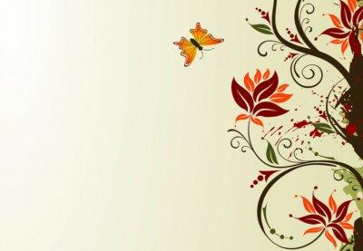 Fototapete Grunge malen Blume Hintergrund mit Schmetterling, Vektor