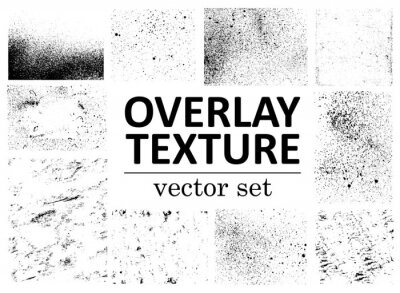 Fototapete Grunge overlays vector. Different paint textures with splay effect and drop ink splashes. Dirty grainy stamp and scratches and damage marks. Urban grunge overlay. Vector illustration