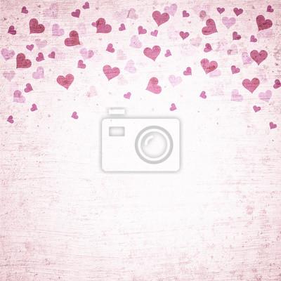 Grunge rosa rote farbe valentinstag herzen illustration hintergrund ...