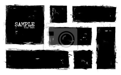 Fototapete Grunge style set of square and rectangle shapes . Vector