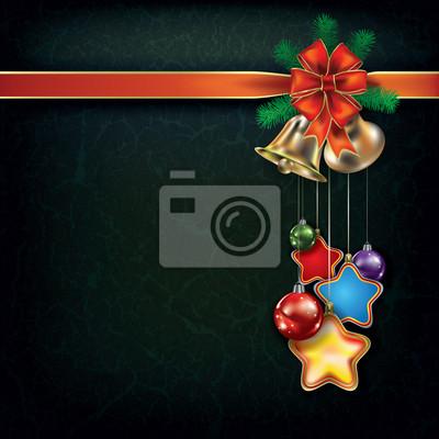 Grunge Weihnachten Hintergrund mit Dekorationen und handbells