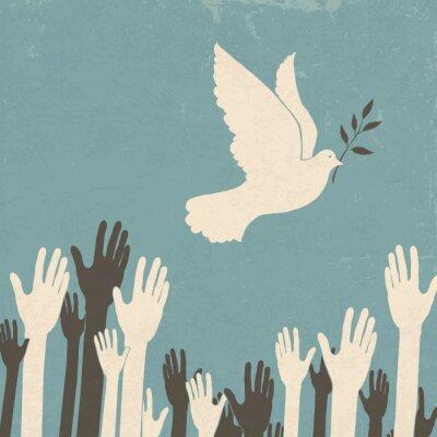 Gruppe Hände und Friedenstaube. Retro-Illustration, eps10