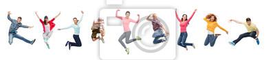 Fototapete Gruppe von Menschen oder Jugendlichen springen