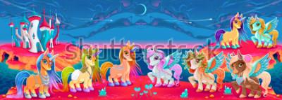 Fototapete Gruppen von Einhörnern und Pegasus in einer Fantasielandschaft. Vektorkarikaturabbildung