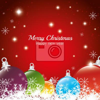 Grüße Frohe Weihnachten.Fototapete Gruß Frohe Weihnachten Frohes Neues Jahr Kugeln Schneeflocke