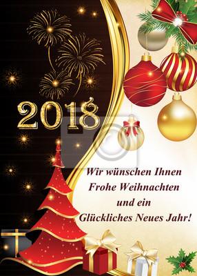 Wir Wünschen Ihnen Frohe Weihnachten Und Ein Glückliches Neues Jahr.Fototapete Grußkarte Für Firmen Mit Deutschem Text Textübersetzung Wir