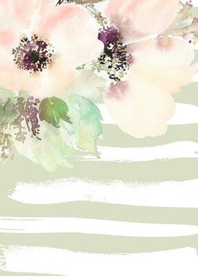 Fototapete Grußkarte mit Blumen. Pastellfarben. Handgefertigt.