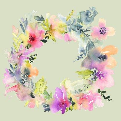 Fototapete Grußkarte mit Blumen. Pastellfarben. Handgefertigt. Aquarellmalerei. Hochzeit, Geburtstag, Muttertag. Brautdusche.