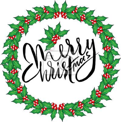 Grußkarte mit einem weihnachten kränze und merry christmas nachricht ...