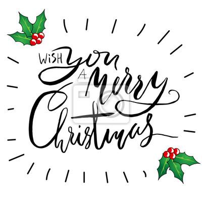 Grußkarte mit einer stechpalme beeren und merry christmas nachricht ...