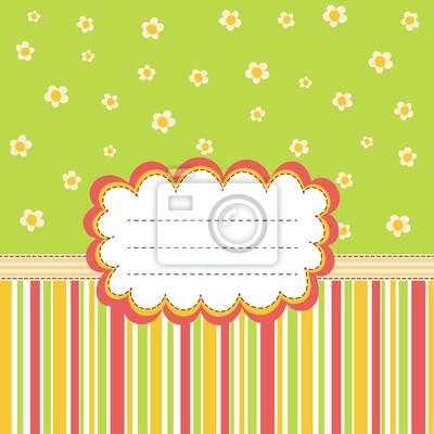 Grußkarte Schablone mit einem Platz für Ihren Text. Vector-Karte mit niedlichen Blumen