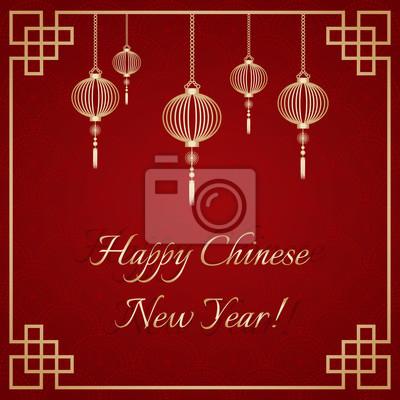 Grußpostkarte zum chinesischen neujahr. golden ornamental rahmen ...