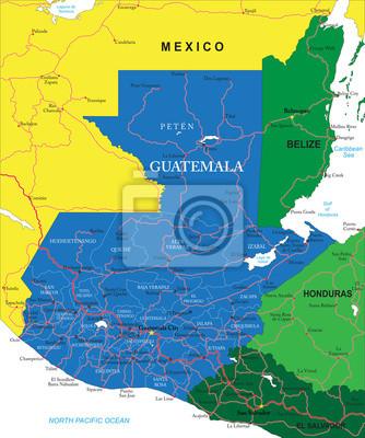 Guatemala Karte.Fototapete Guatemala Karte