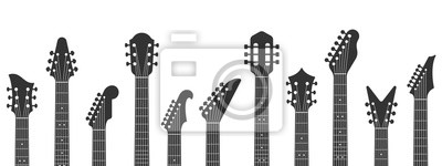 Fototapete Guitar headstocks. Guitars necks, rock music and guitar peghead with tuning pegs. Acoustic and electric guitar neck silhouette isolated vector illustration