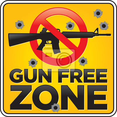 Gun Free Zone Assault Rifle mit Einschusslöchern