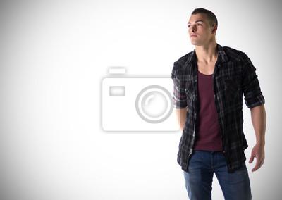newest 903de 95dc2 Fototapete: Gut aussehender junger mann mit t-shirt und kariertes hemd
