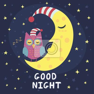 Gute Nacht Karte mit schlafendem Mond und niedlichen Eule. Abbildung