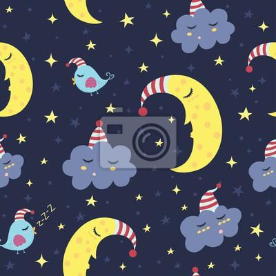Gute Nacht nahtlose Muster. Abbildung