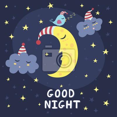 Gute Nachtkarte mit dem netten schlafenden Mond, Wolken und einem Vogel. Abbildung