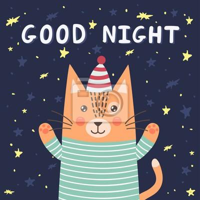 Gute Nachtkarte mit einer netten Katze