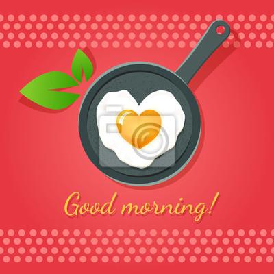 Guten Morgen Spiegelei In Form Von Herzen Auf Einer Pfanne