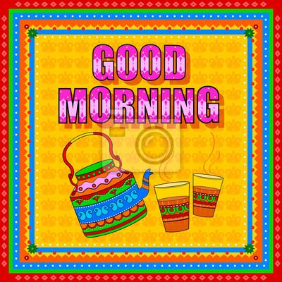 Guten Morgen Hintergrund In Indischen Truck Art Stil