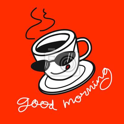 Guten Morgen Kaffee Illustration Auf Orange Hintergrund