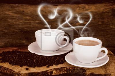 Guten Morgen Kaffee Mit Herzförmigem Dampf Fototapete