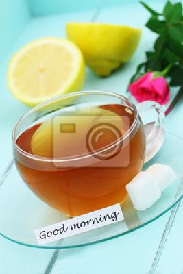 Guten Morgen Karte Mit Einer Tasse Tee Zitrone Und Rosa