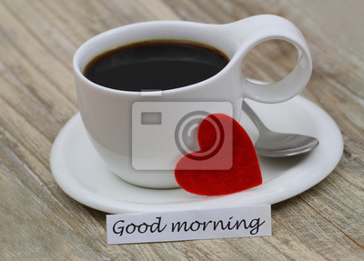 Guten Morgen Karte Mit Tasse Schwarzem Kaffee Und Rotem Herz
