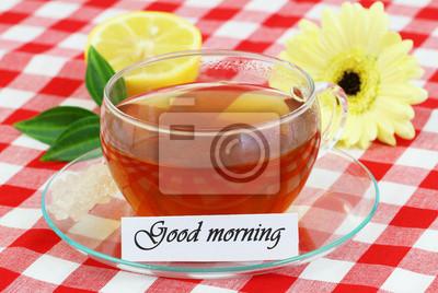 Guten Morgen Karte Mit Tasse Tee Fototapete Fototapeten