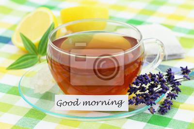 Guten Morgen Karte Mit Tasse Tee Lavendel Und Zitrone
