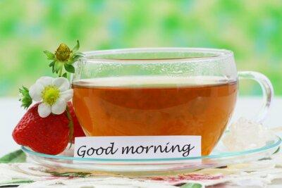 Guten Morgen Karte Mit Tasse Tee Und Erdbeer Fototapete