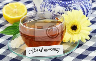 Guten Morgen Karte Mit Tasse Tee Und Sahne